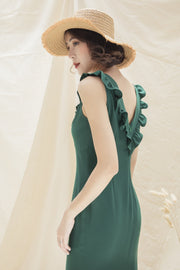Green Star Frill Midi Dress