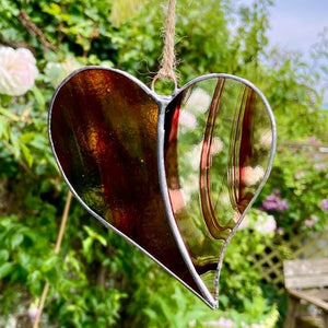 Hanging Stained Glass Heart - Swirly Chocolate