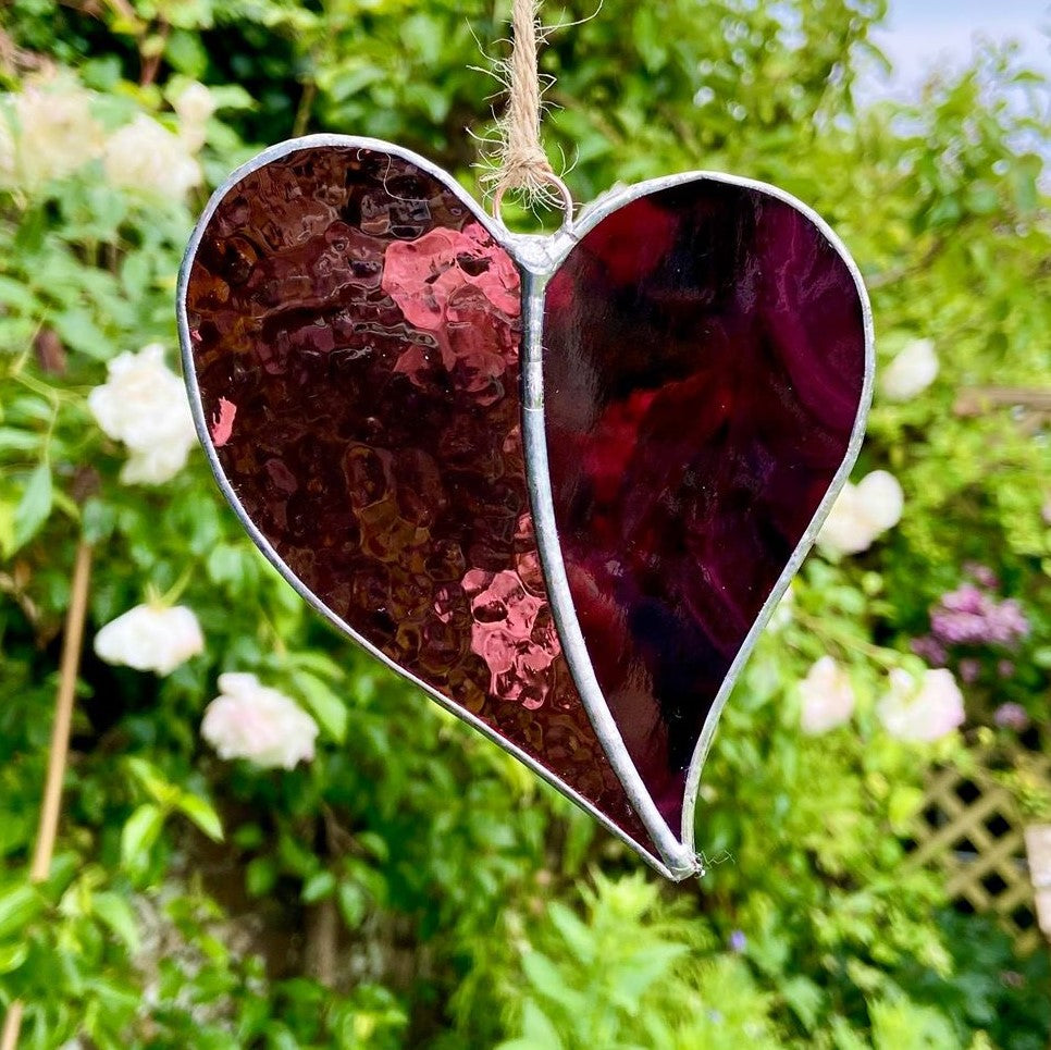 Hanging Stained Glass Heart - Very Deep Purple