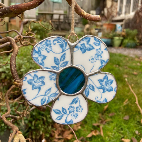 Vintage Blue Stained Glass Flower