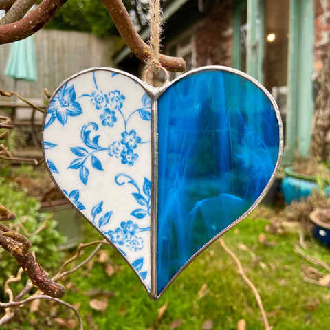Vintage Blue Stained Glass Heart