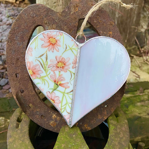 Vintage Pink and White Stained Glass heart