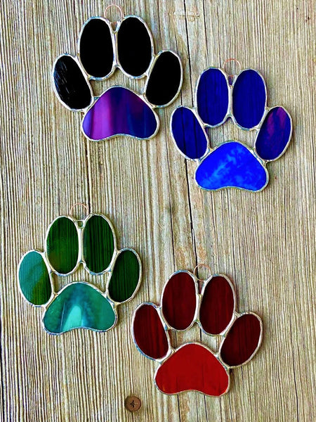 Stained Glass Puppy Paws - Purple
