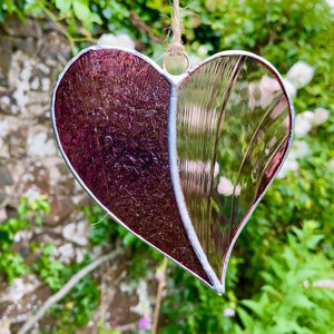 Hanging Stained Glass Heart - Whipped Purple