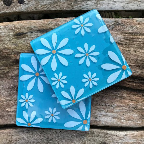 Set of 4 White Daisy Coasters - Turquoise