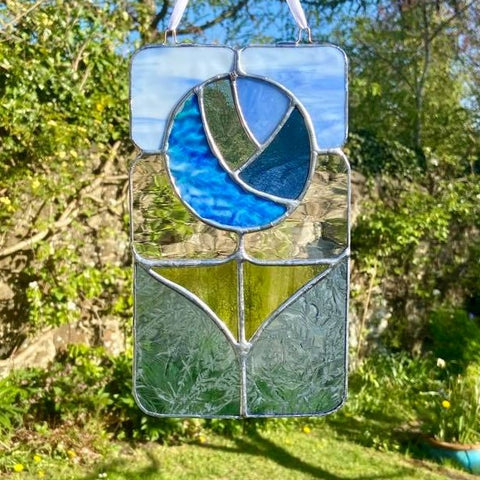 Stained Glass Flower Hanging Panel in Blue