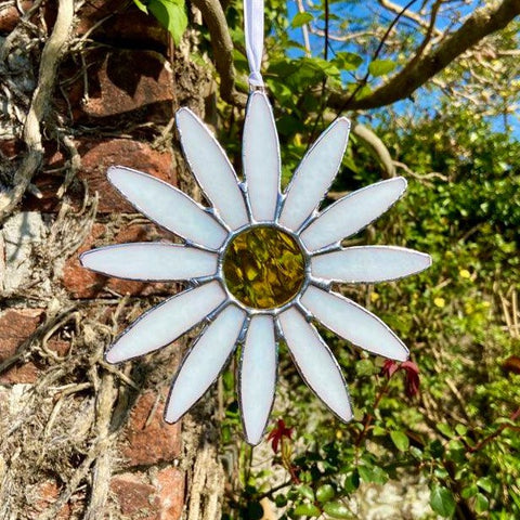 Hanging Stained Glass Daisy - White