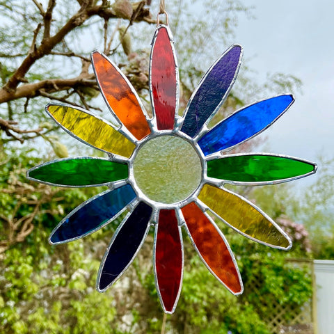Hanging Stained Glass Daisy - Rainbow