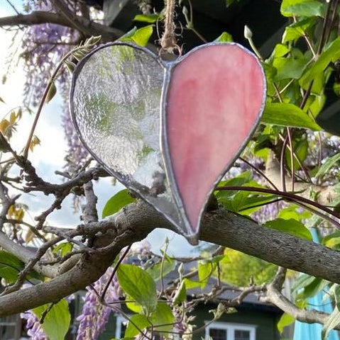 Hanging Stained Glass Heart - Pink and Clear