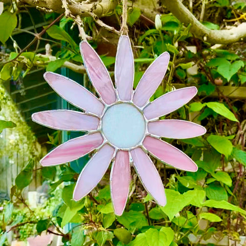 Hanging Stained Glass Daisy - Light Pink