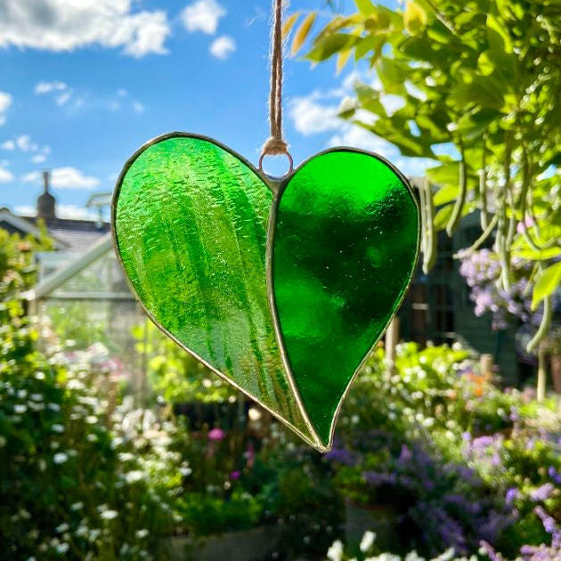 Hanging Stained Glass Heart - Garden Green