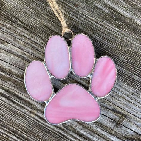 Stained Glass Puppy Paws - Pink