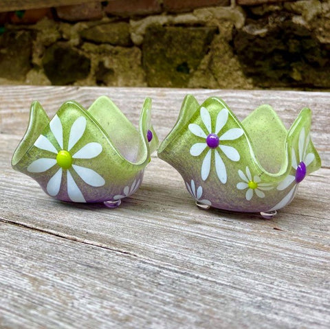 Purple and Lime Daisy T-Light