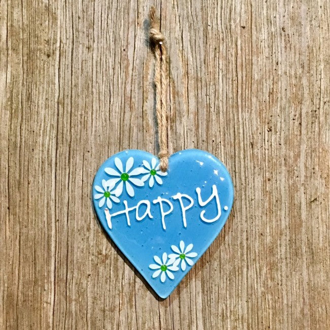 Hanging Daisy Word Heart - Blue
