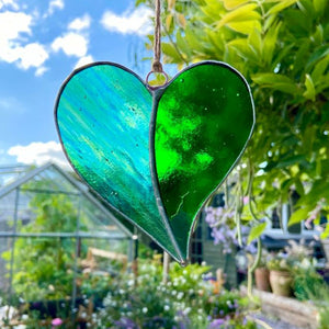 Hanging Stained Glass Heart - Dartmoor Green