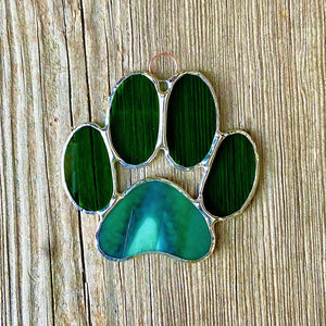 Stained Glass Puppy Paws - Green