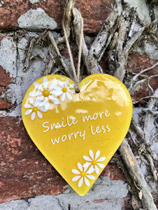 Inspired Sayings Hanging Daisy Heart - Yellow