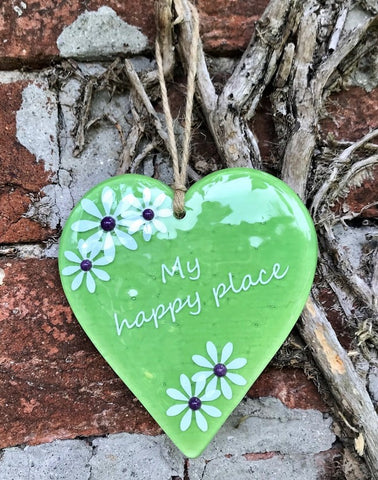Inspired Sayings Hanging Daisy Heart - Lime