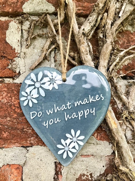 Inspired Sayings Hanging Daisy Heart - Grey