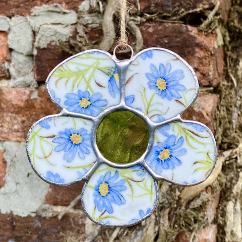 Vintage Blue and Green Stained Glass Flower