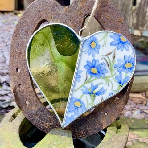 Vintage Blue and Green Stained Glass Heart