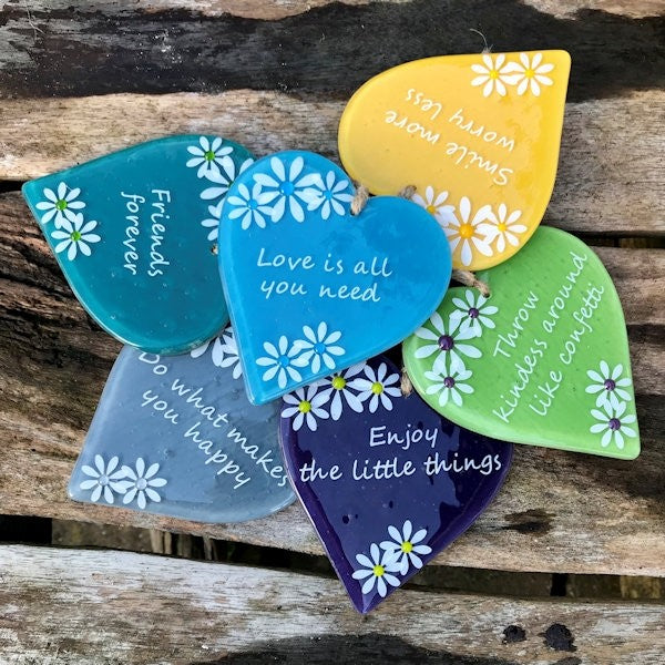Inspired Sayings Hanging Daisy Heart - Purple