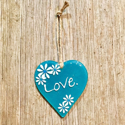 Hanging Daisy Word Heart - Jade