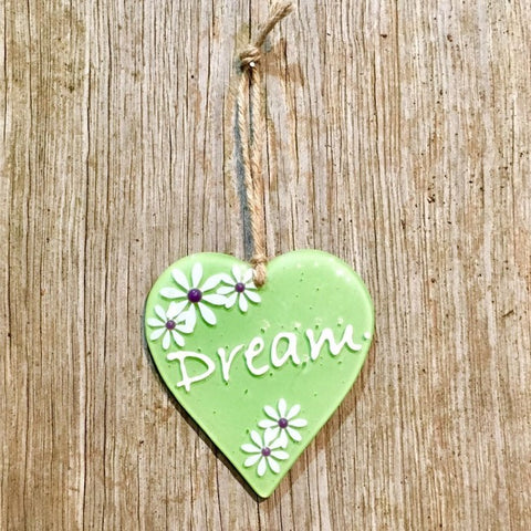 Hanging Daisy Word Heart - Lime