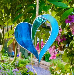 New Design Stained Glass Heart - Blue Lagoon