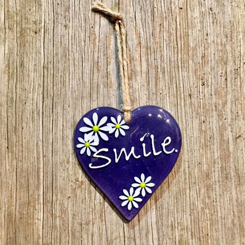 Hanging Daisy Word Heart - Purple