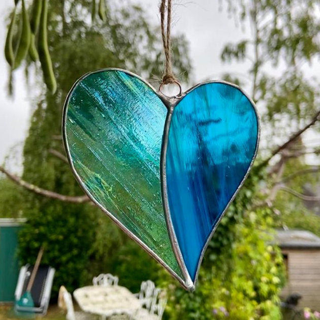 Hanging Stained Glass Heart - Sea Dreams
