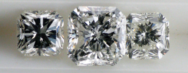 Loose Round Pre-Loved Three stone matching  set of  Cushion Cut Diamonds - 1.91 carats Total Weight