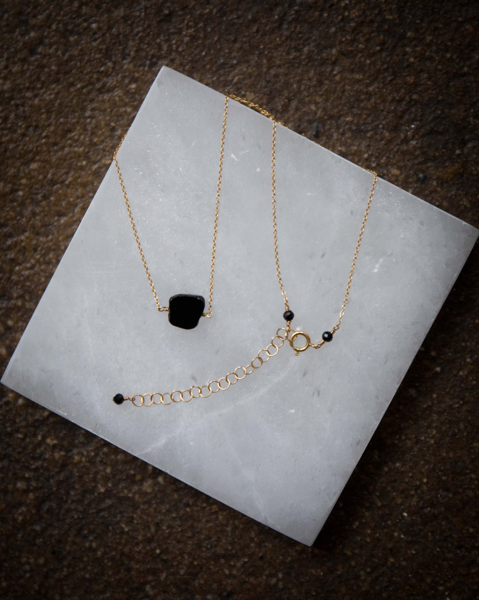 Black Tourmaline Slice Necklace