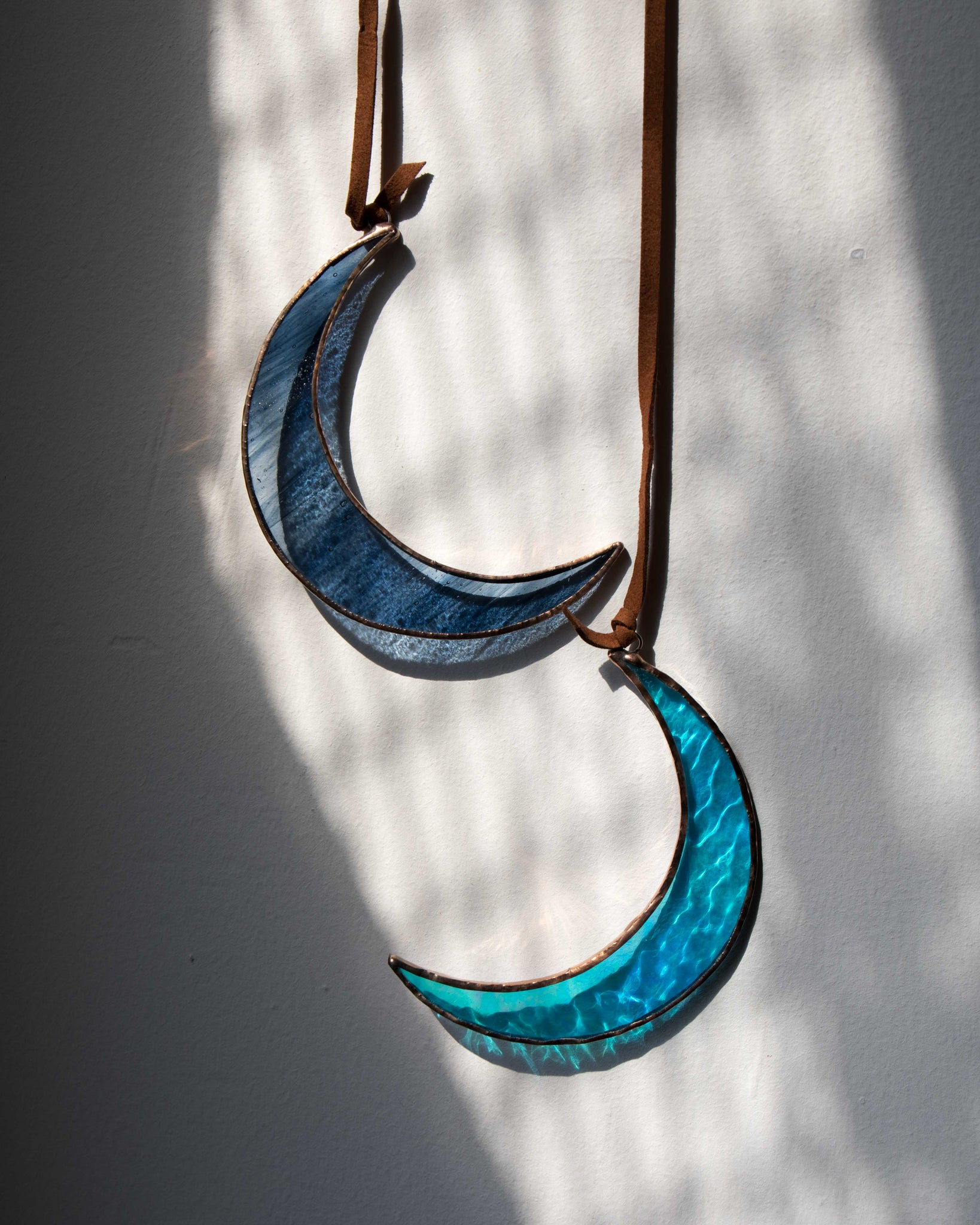 Black/Blue Iridescent Crescent Moon by Colin Adrian Glass