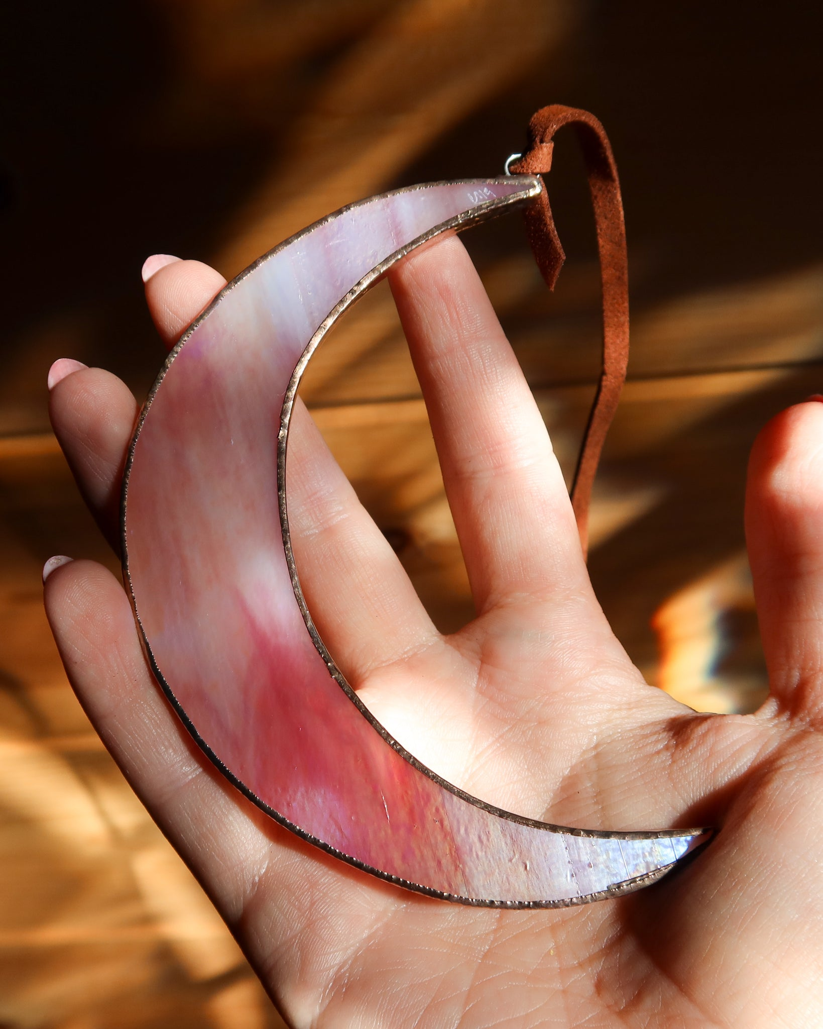 Pink Iridescent Crescent Moon by Colin Adrian Glass