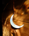 Iridescent White Crescent Moon by Colin Adrian Glass