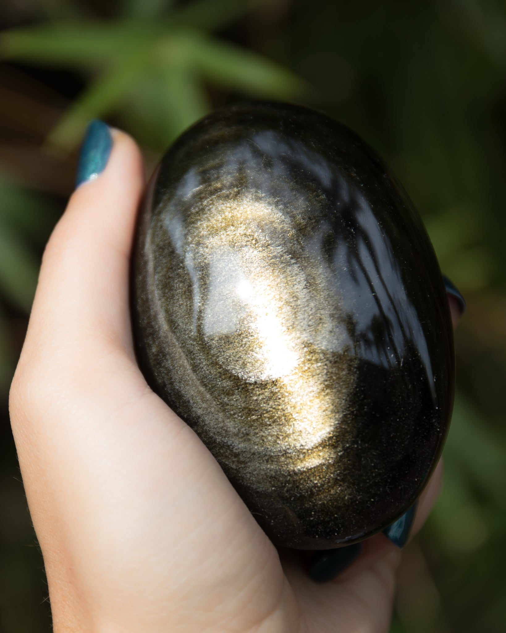 Large Gold Sheen Obsidian Palm Stones