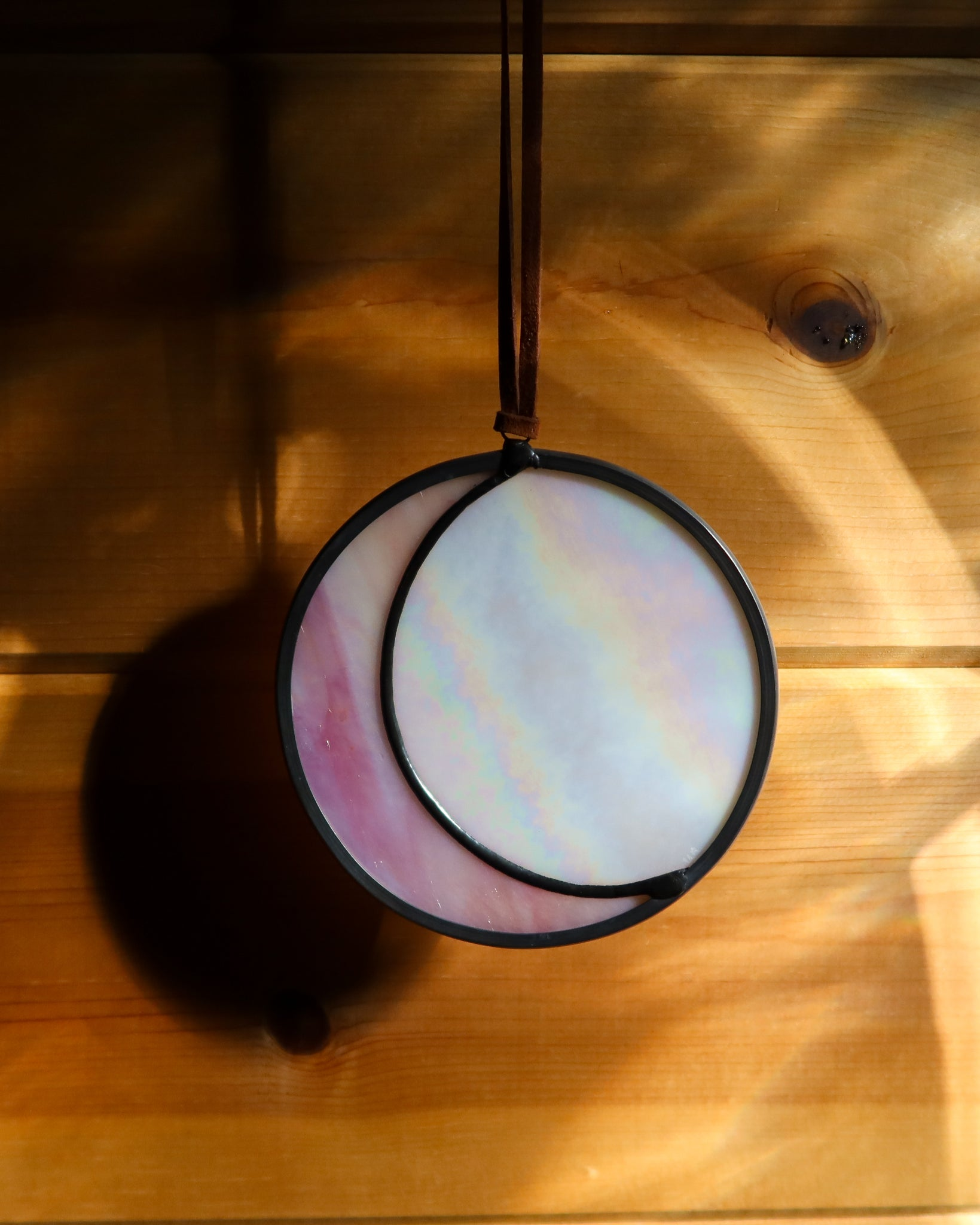 Pink & White Iridescent Circle Moon by Colin Adrian Glass