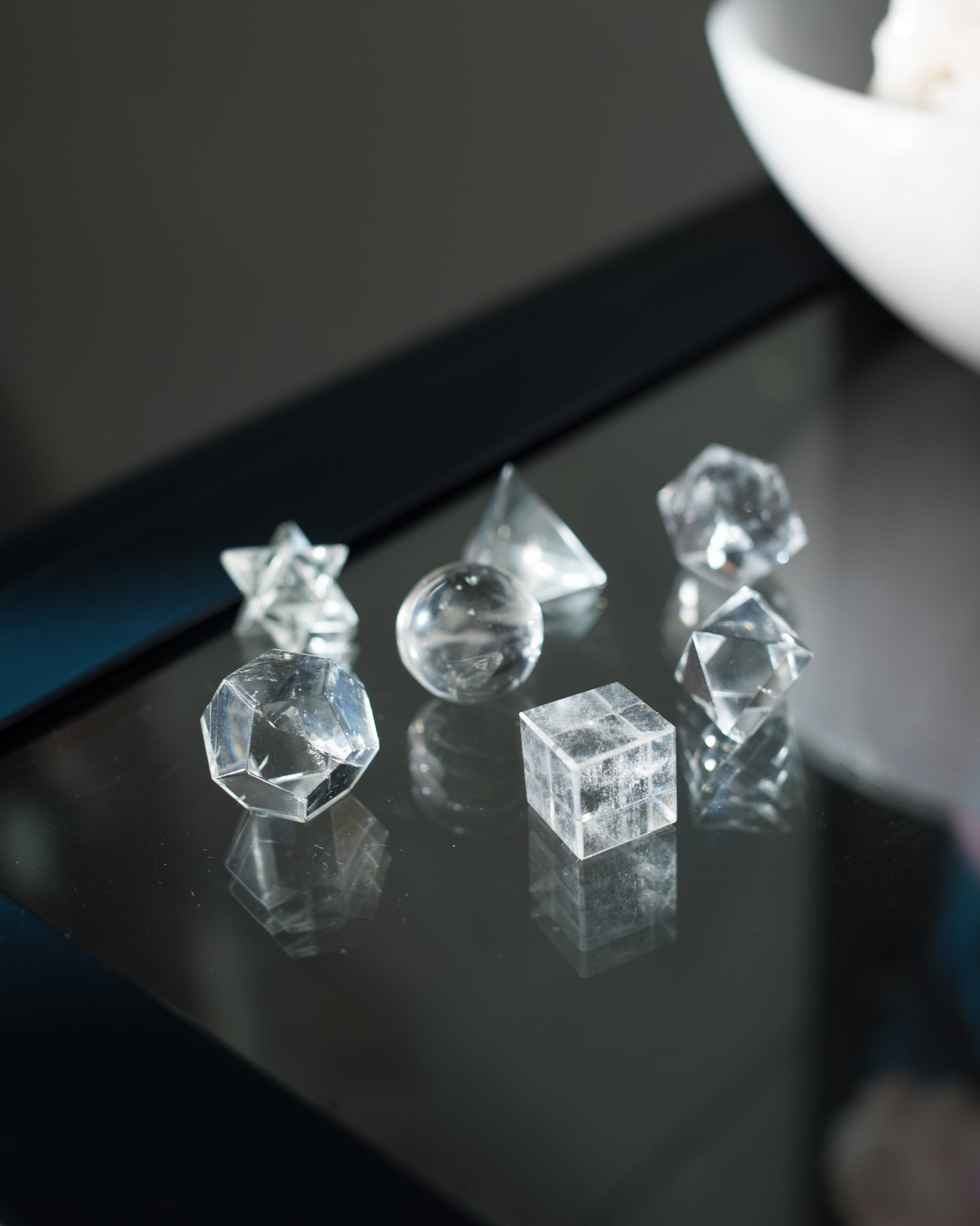 Clear Quartz Platonic Solid - PERFECTLY IMPERFECT SET