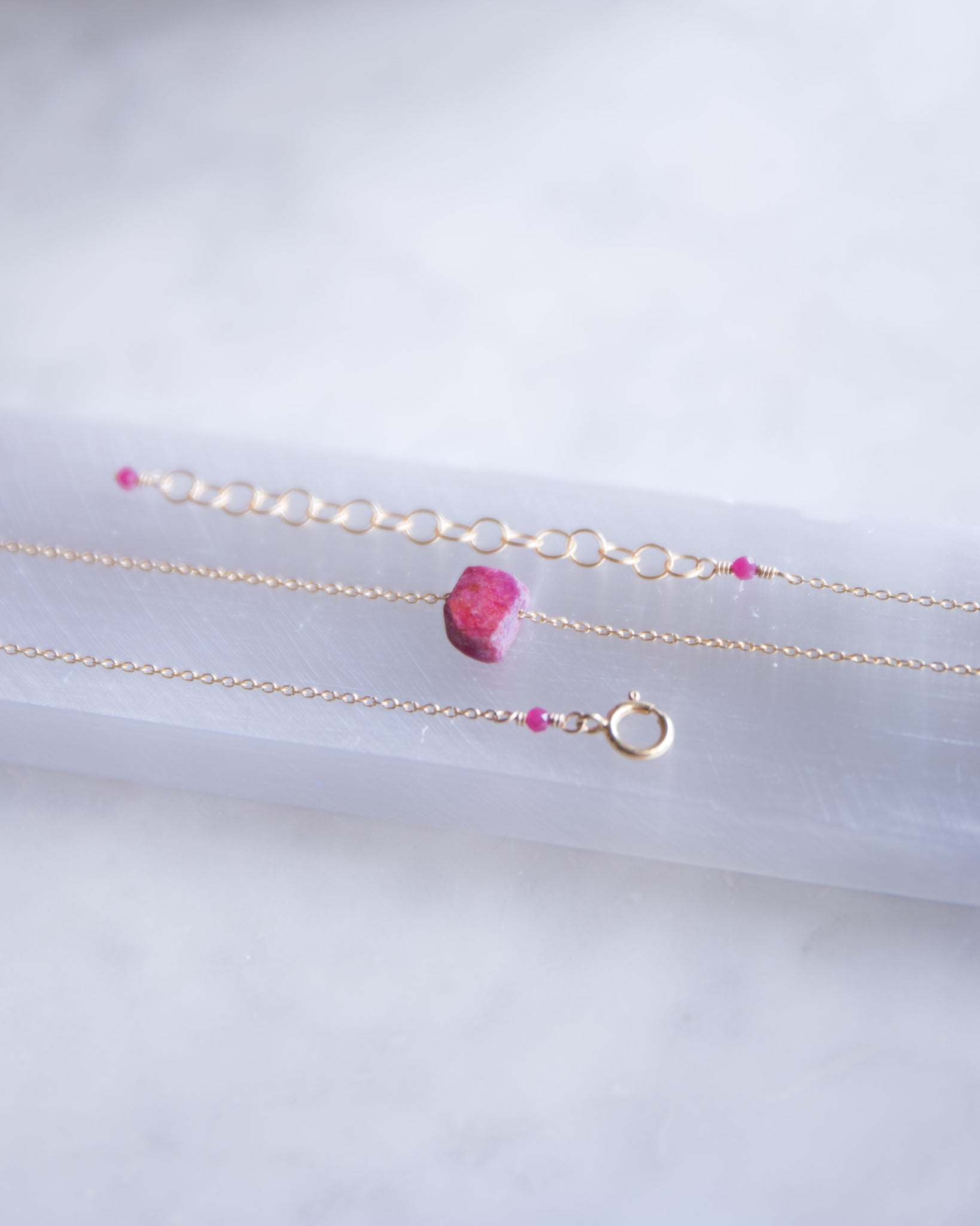 Raw Ruby Necklace