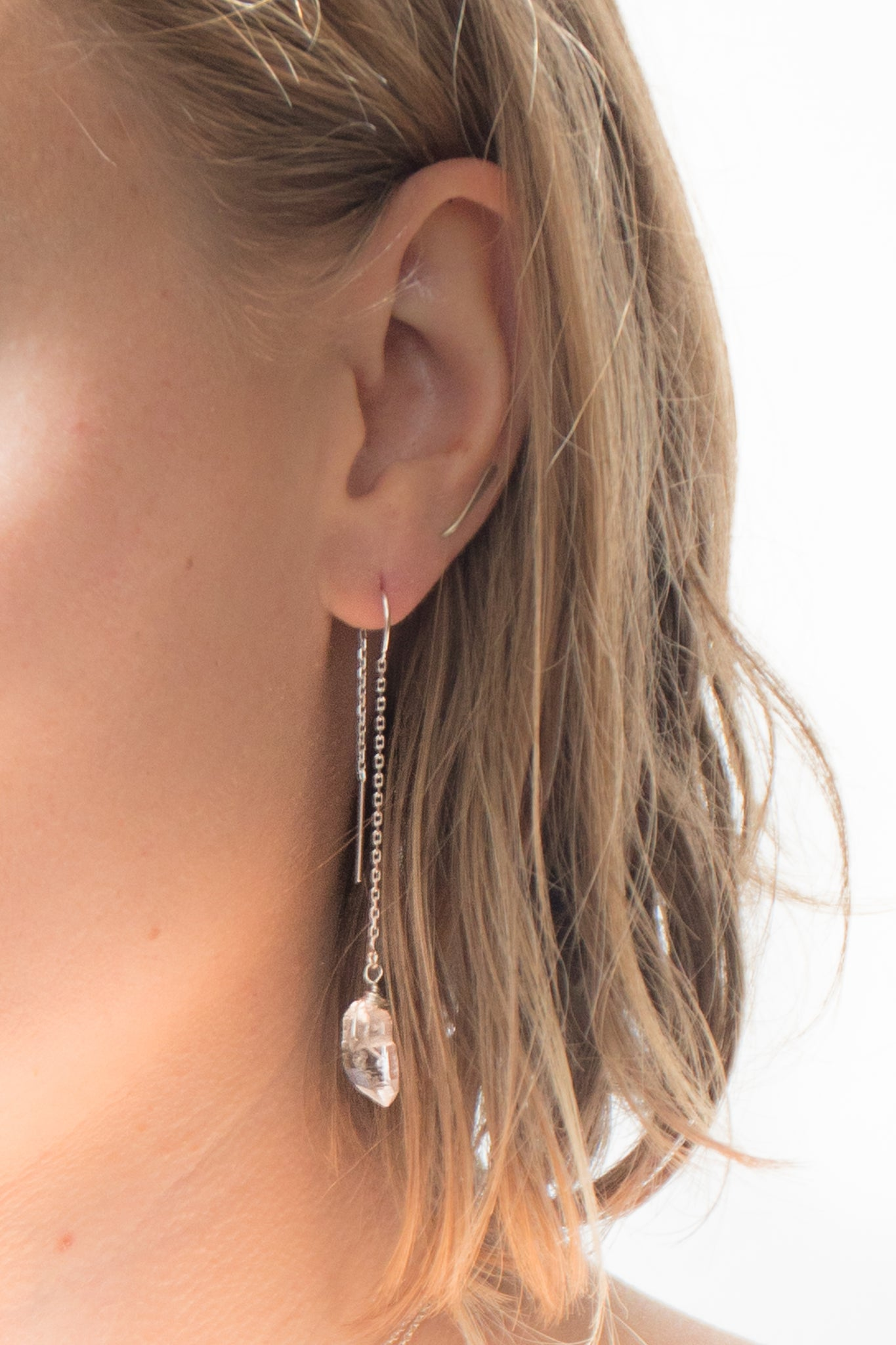 Clear Quartz Threaded Earrings (PRE-ORDER)