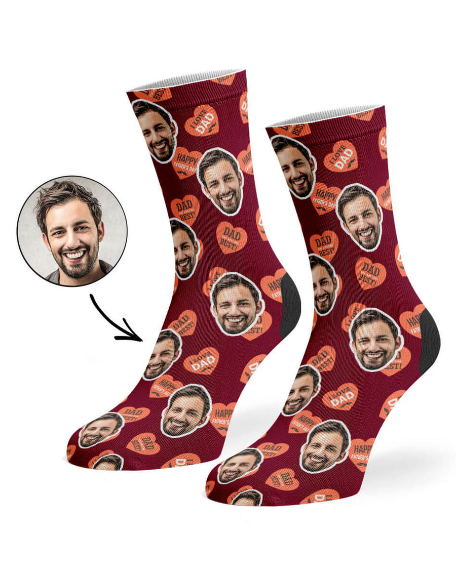 Dad Love Hearts Socks