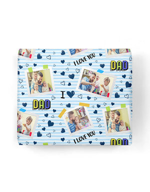 I Love You Dad Collage Gift Wrap