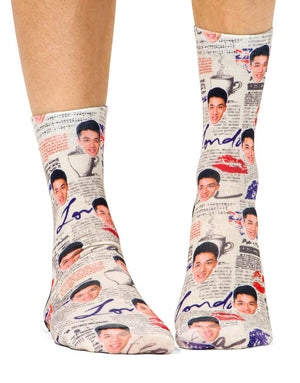 London Newspaper Pattern Socks