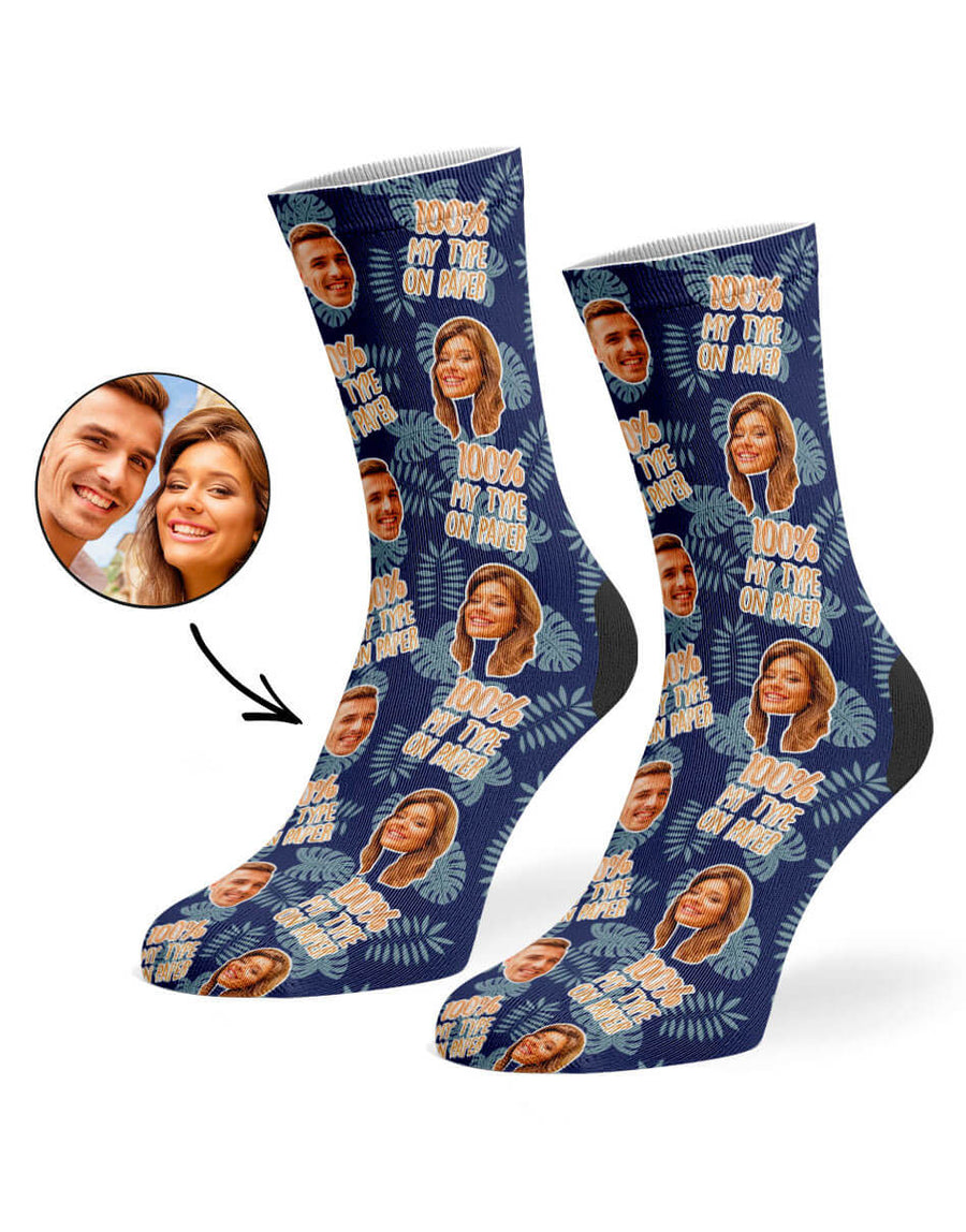 100% My Type on Paper Face Socks