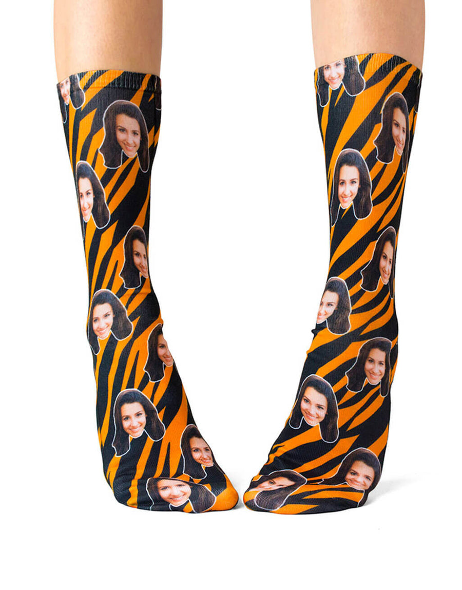 Tiger Print Face Socks