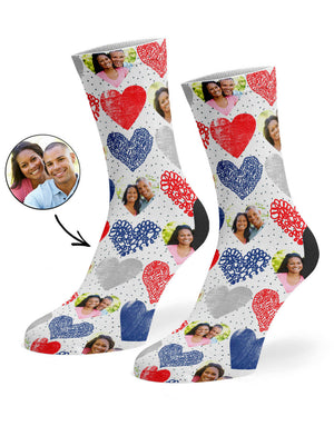 Hearts Collage Socks