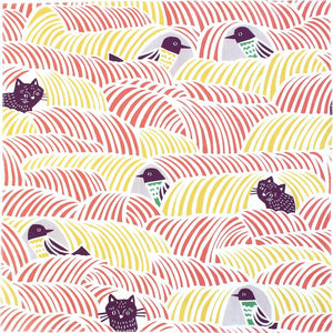 Kyoto Dinner Napkin | Cats & Birds Pink | 70cm