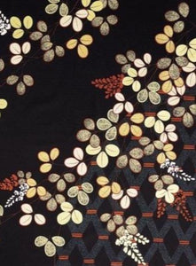 Furoshiki Tapestry | Hagi | Golden Bush Clovers on Black | 118 cm.