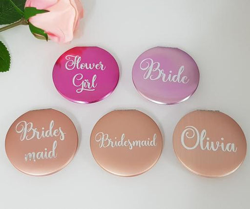 Compact Mirrors With Silver text
